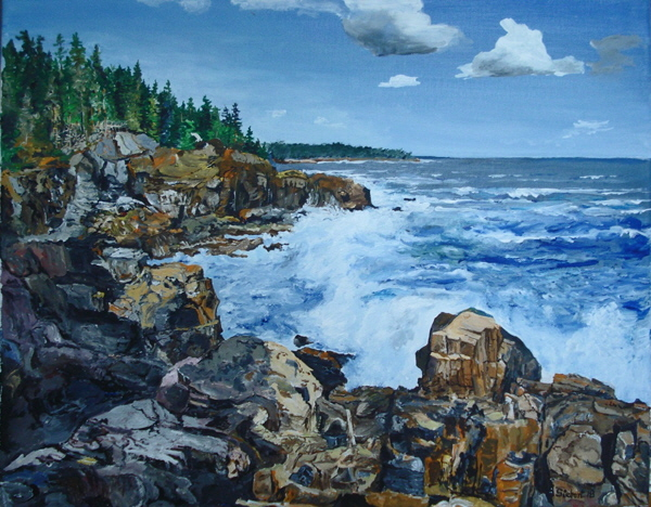 2018 Rocky shore on a windy day (51 x 41cm)-B600